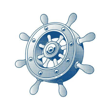 wooden circle: Ship wheel. Marine Tattoo. Vector illustration. Boats helm.