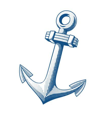 tattooing: Ship anchor. Tattoo. Vector illustration. Steel marine emblem.