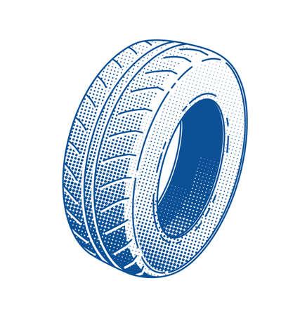 car tire: Car tire. Rubber wheel. Vector illustration. Car service. Automobile part.