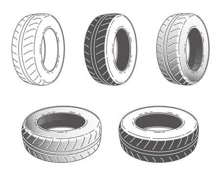 cartwheel: Car tire. Rubber wheel. Set of Vector illustration. Car service. Automobile part. Illustration