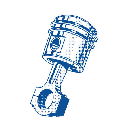 car engine: Metallic gear piston. Car engine part. Vector illustration. Automobile repair service. Transport maintenance. Vintage graphics. Steel cylinder