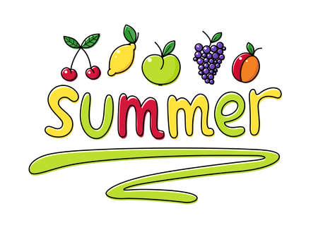 berry fruit: Summer fruit. Set of illustrations. Summertime healthy food. Apple, cherry, grapes, berry, peach, lemon.