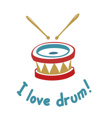 ardour: Drum. Music instrument. illustration. Tattoo art. Musical hobby.