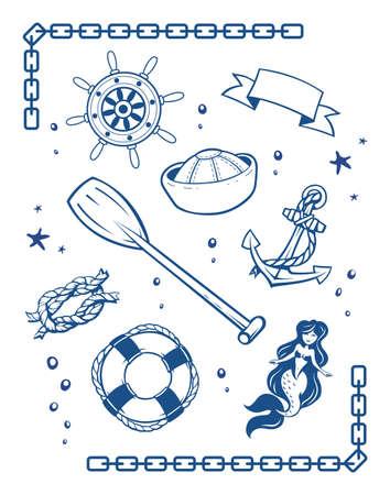 seamaid: Sea and nautical Symbols. Set of  illustration. Vintage style tattoo.  Marine mermaid, ship anchor and  life buoy, sailor cap, rope knot, Boat wheel