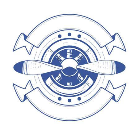 Flugzeug-Propeller mit Bändern. Illustration, isoliert auf weißem Hintergrund. Luftfahrt-Symbol.