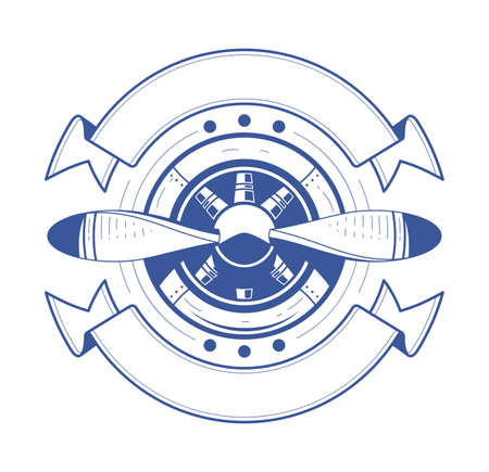 hélice de un avión con cintas. Ilustración, aislado sobre fondo blanco. símbolo de la aviación.