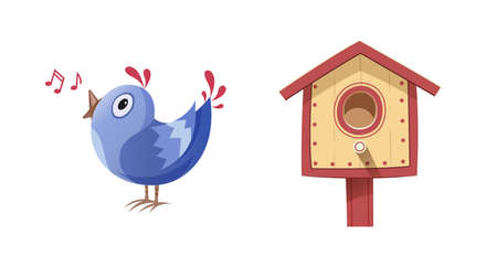 song bird: Bird sing song and nesting box. illustration, Isolated white background