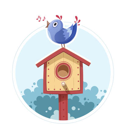 starling: Bird sit and sing on nesting box. illustration, Isolated white background