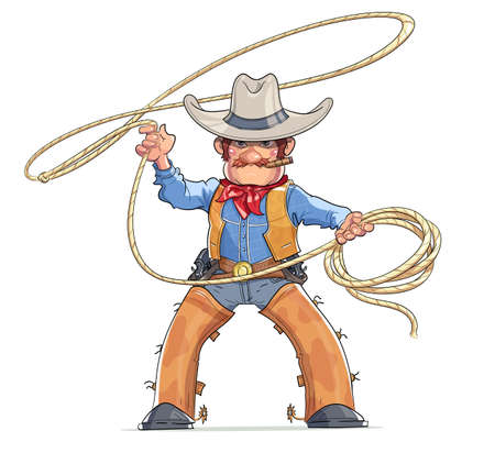 Cowboy. Western character. Boy in American traditional costume with lasso. Rodeo. Cartoon personage. Vector illustration, Eps10 Isolated white background.