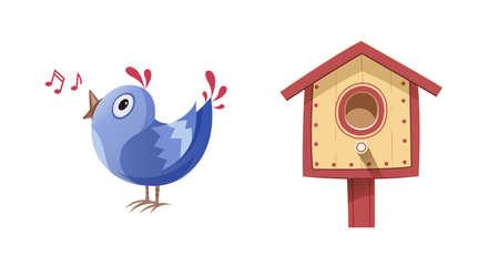Pájaro cantar la canción y la caja de nidificación. ilustración vectorial, eps10 fondo blanco aislado