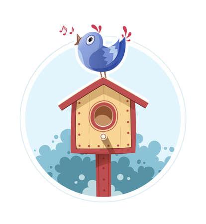 Bird sit and sing on nesting box. Vector illustration, Eps10 Isolated white background Illustration