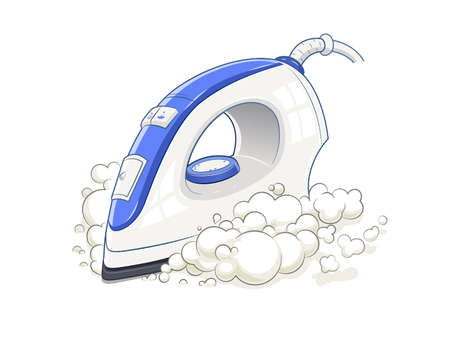 ironing: Iron with steam. Home device. Housework equipment. Domestic electric tool. Vector illustration, Eps10 Isolated white background