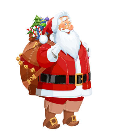 Smiling Santa Claus with gift sack. Christmas cartoon character. Vector illustration, eps10 isolated white background. Bearded old-man in red costume is symbol of traditional winter new year celebration.