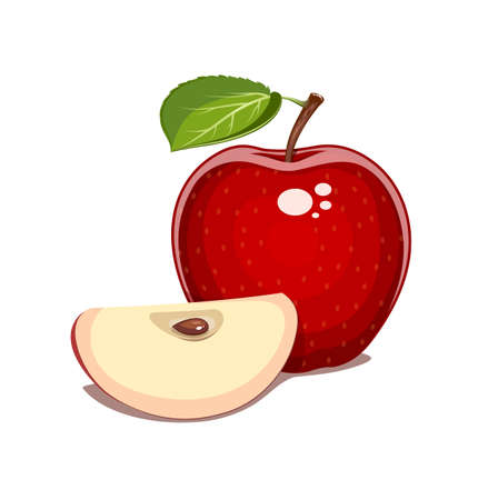 nourishment: Red apple with leaf and clove. Natural sweet fruit. Eps10 isolated white background. Organic healthy  vegan food.