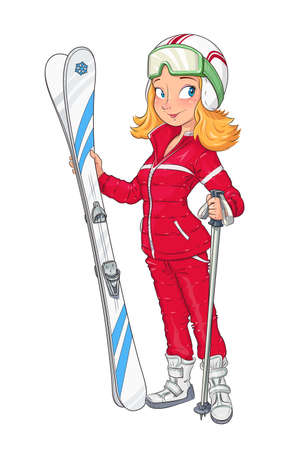 Beautiful girl in helmet with mountain ski. Extreme Sport. Winter hobbie. Sporting woman. Vector illustration, eps10 isolated white background
