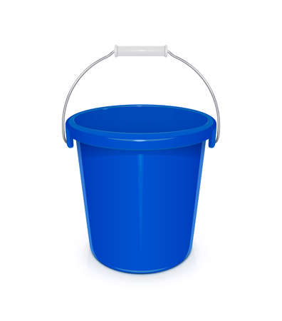 capacities: Blue plastic empty bucket with handle. Tool for cleaning and housekeeping. Instrument for working. vector illustration, eps10