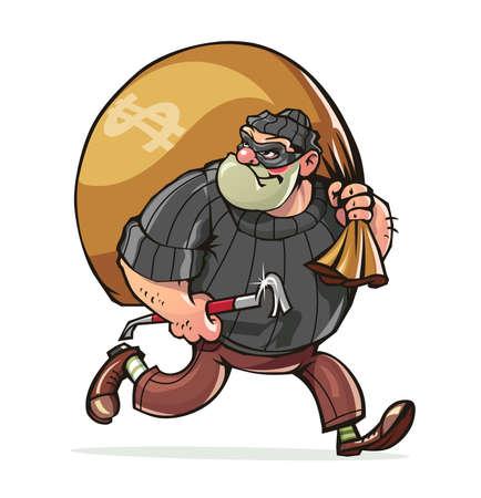 Bandiet met een koevoet carry zak geld vector illustratie