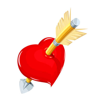 Heart and arrow. Symbol love for saint Valentines day. Holiday for lovers.