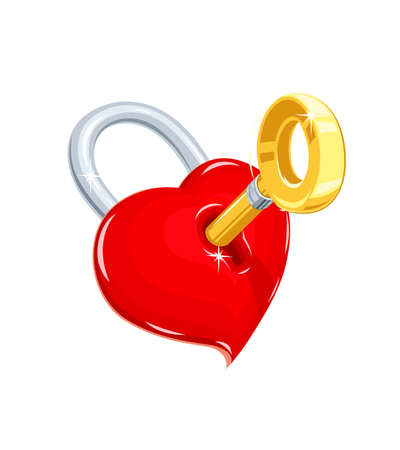 Heart and key.Symbol love for saint Valentines day. Holiday for lovers. Illustration