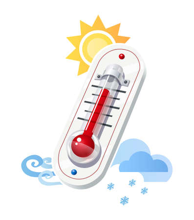 meteorology: Thermometer show temperature and weather icons. Sun, wind, snow, cloud synoptics and meteorology symbol. Vector illustration, eps10 isolated white background