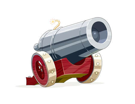 gunfire: Big vintage gun with core. Cartoon Antique artillery weapon on wooden wheel for army forces. vector illustration, eps10 isolated white background Illustration
