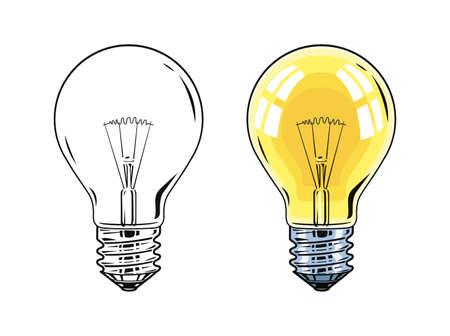 fluorescence: Shining Electric bulb. Light glass lamp. Vector illustration, eps10 isolated on white background