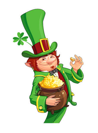 Gnome leprechaun. Fairy-tale character for Saint Patricks Day. Rich dwarf man with pot of gold coins. Shamrock symbol success and luck. vector illustration, eps10 isolated white background
