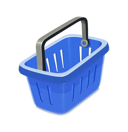 capacities: Blue plastic basket for shopping. Supermarket equipment. Vector illustration, eps10 isolated white background Illustration