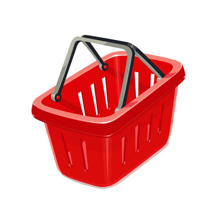 capacities: Red plastic basket for shopping. Supermarket equipment. Vector illustration, eps10 isolated white background
