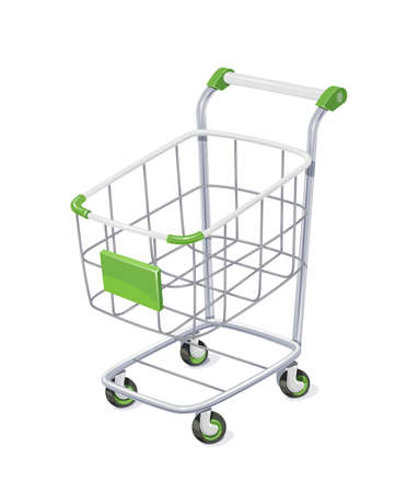 hamper: Supermarket cart with basket for shopping. Shop  equipment for delivery purchase products. Vector illustration, eps10 isolated white background