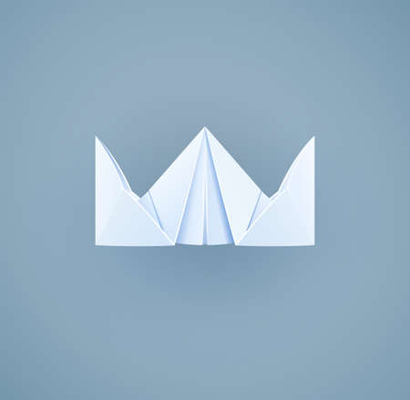 paper art: Paper royal crown. Handicraft toy. Handmade decoration. Vector illustration, eps10
