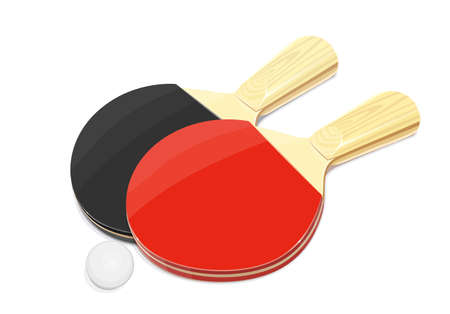 Table tennis racket and ball. Ping-pong sport game. Sports equipment. Vector illustration, eps10 isolated white background