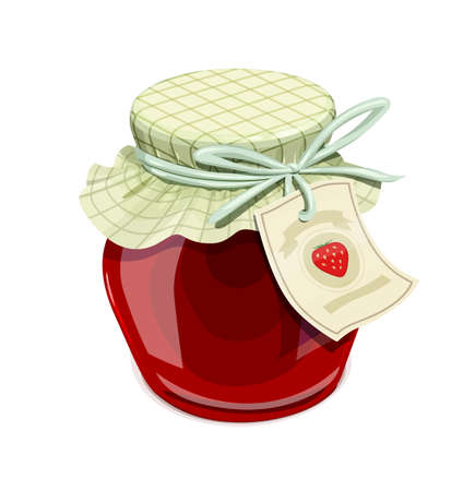 confiture: Strawberry jam jar. Vintage style. Delicious organic food. Glass capacity for berry meal with lid. vector illustration, eps10 isolated white background