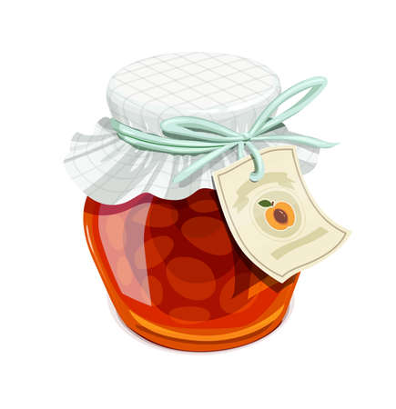 confiture: Apricot jam jar. Vintage style. Delicious organic food. Glass capacity for fruit meal with lid.