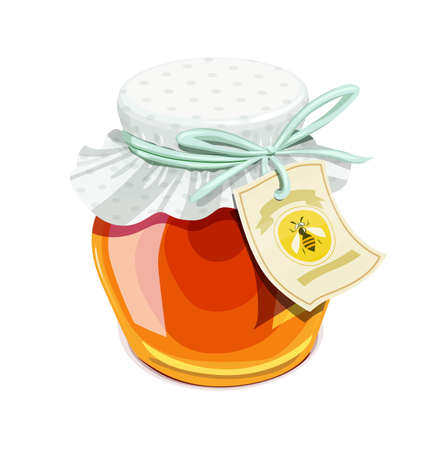 confiture: Honey jar. Vintage style. Delicious organic food. Glass capacity for bee meal with lid.