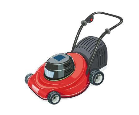 Lawn mower. Grass-cutter. Garden tool. Gardening equipment. Isolated white background. Eps10 vector illustration.