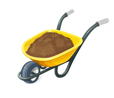 Wheelbarrow with ground. Gardening tools. Barrow with one wheel for transportation cargo. Agriculture and building work inventories. Isolated white background. vector illustration.