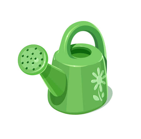 Watering can. Garden instrument. Gardening tool for pour plants. Isolated white background.  vector illustration.