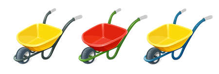 Wheelbarrow. Gardening tools. Barrow with one wheel for transportation cargo. Agriculture and building work inventories. Isolated white background. vector illustration.