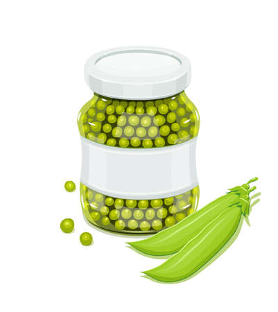 Glass jar with greeen peas and pods. Natural food for safekeeping. Eps10 isolated white background