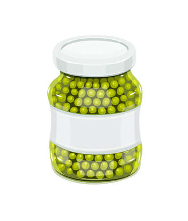 preserve: Glass jar with greeen peas. Natural food for safekeeping. Eps10 isolated white background