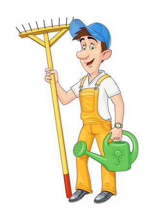 Giardiniere con rastrello e annaffiatoio. Occupazione lavorativa Personaggio dei cartoni animati. Hobby di agricoltura Lavoro di pulizie Sfondo bianco isolato Illustrazione vettoriale Eps10. Vettoriali