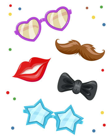 holiday party: Glasses, moustache, lip, bow-tie. Masks for birthday party. Celebration accessories. Retro style. Isolated white background.