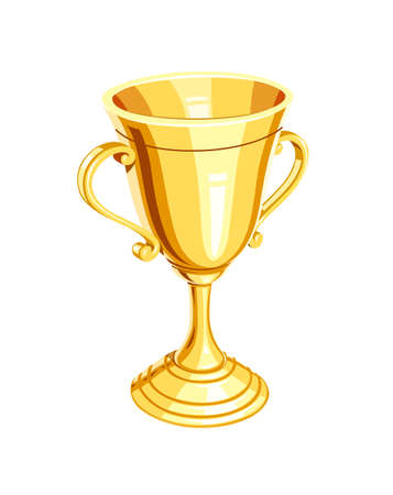 Gold champion cup. Golden Winner Prize. Sports win trophy. Isolated white background. Eps10 vector illustration.