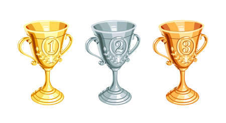 sports winner: Gold, bronze, silver champion cup. First, second, third Winner Prize. Set of Sports win trophy. Isolated white background. Vector illustration. Illustration
