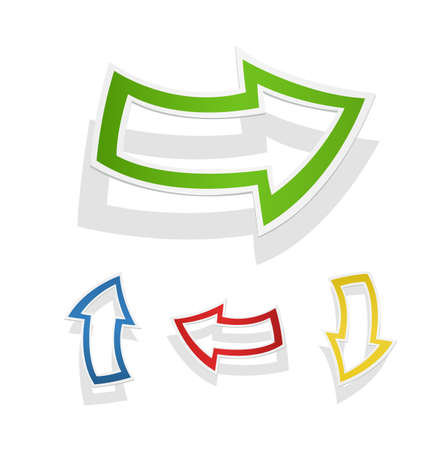 Coloured arrows pointers showing direction. Cursor up, down. Paper cutting cursor. Illustration