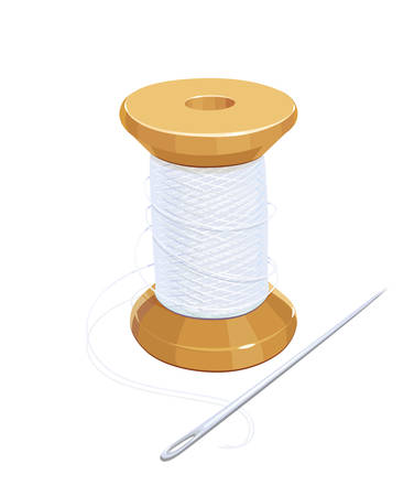 white work: White thread reel with needle. Cotton for needlework. Sewing tools. Isolated background. Eps10 vector illustration. Illustration