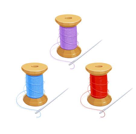 Gekleurde draadhaspel met naald. Katoen voor handwerken. Naai gereedschap. Geïsoleerde achtergrond. Eps10 vector illustratie. Stock Illustratie