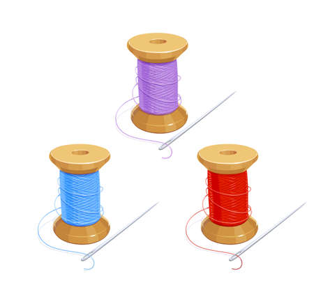 Colored thread reel with needle. Cotton for needlework. Sewing tools. Isolated background. Eps10 vector illustration. Illustration