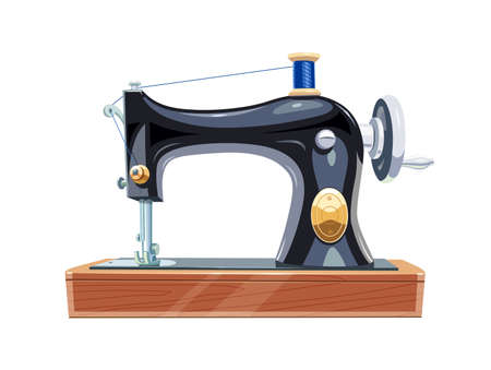 Vintage sewing machine with blue spool thread. Equipment for sew vogue clothes. Isolated white background. Eps10 vector illustration.